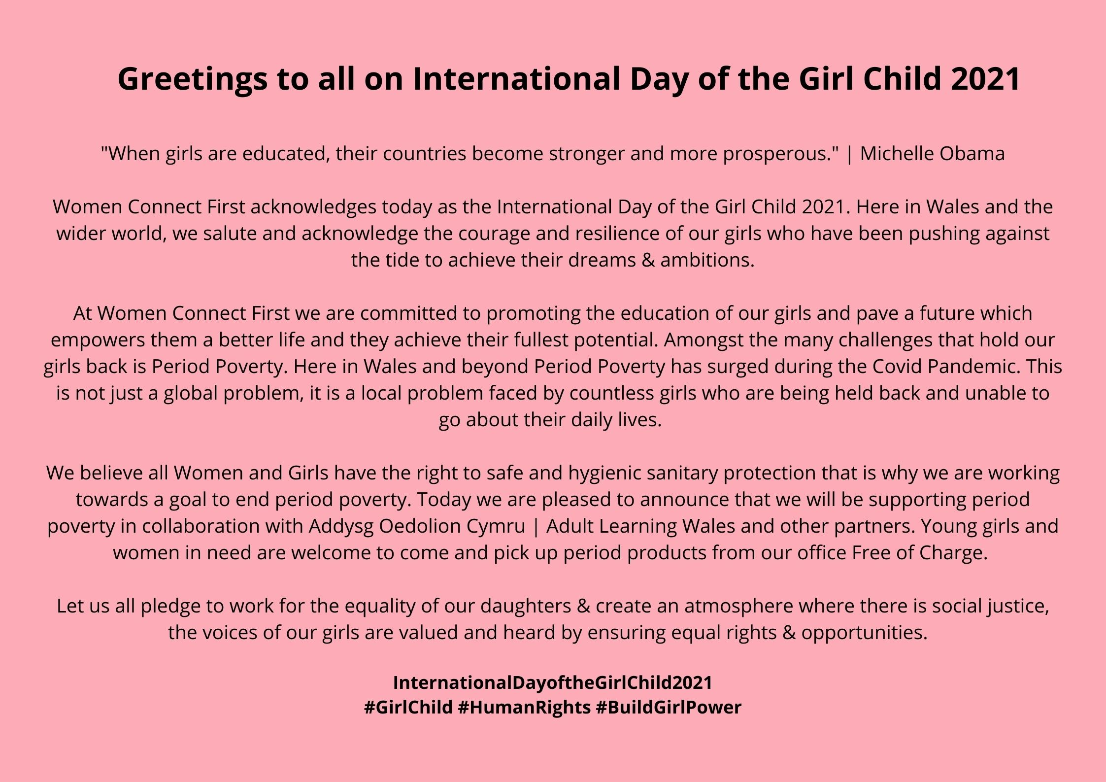 Greetings to all on International Day of the Girl Child 2021